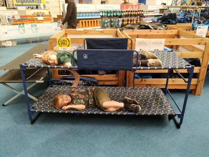 Day 42 - boys on double camp bunkbed in Go Outdoors.jpg